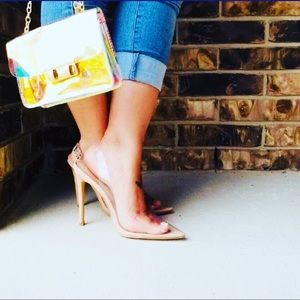 Clear sling back pumps